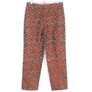 J. Crew embroidered brocade animal print pants